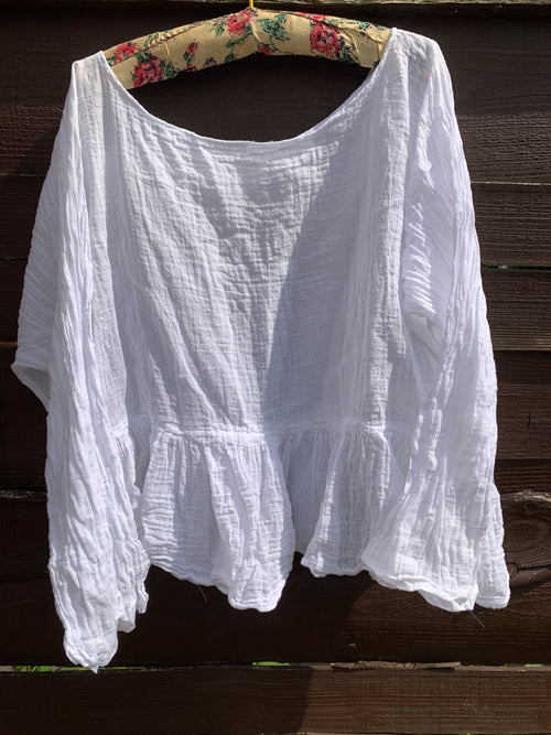 Ready to Ship Free Size White Frill  Cotton Gauze Top