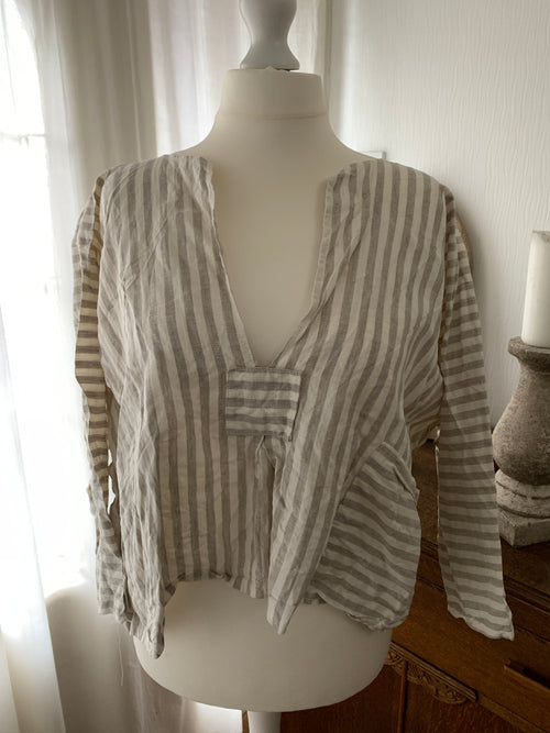 Ready to Ship Free Size Stripe Linen Boxy Top