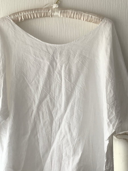 Simple White Linen Top