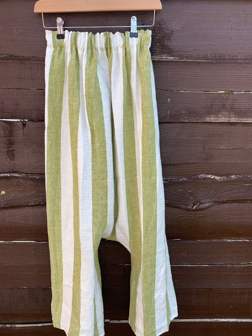 Ready to Ship Wide Stripe Linen Garcon Pants Unisex