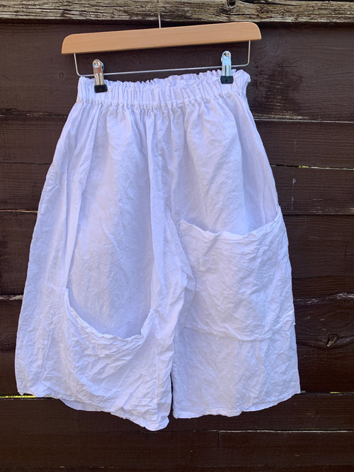 Ready to Ship White Linen Bermuda Shorts Unisex