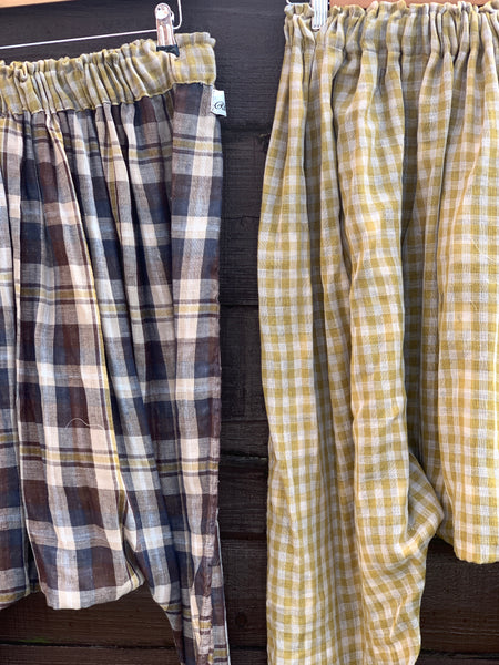 Ready to Ship Green Check Reversible Harem Pants Free Size