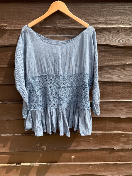 India Cotton Lace Top