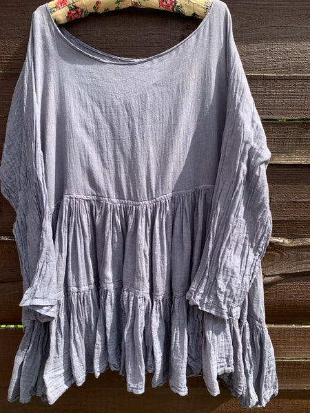 Ready to Ship Free Size Slate Grey Romy Prairie Top