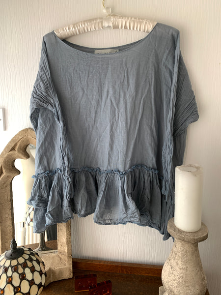 Ready to Ship Free Size Teal Prairie Top