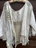 Free Size Linen Artist Calligraphy Lace shirt