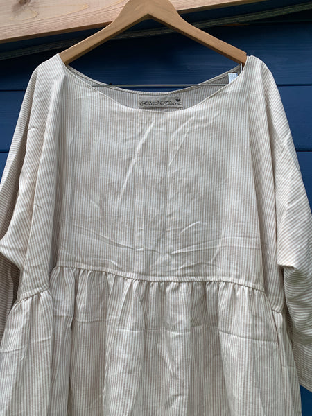 Ready to Ship Fine Stripe Linen Georgia Top One Size