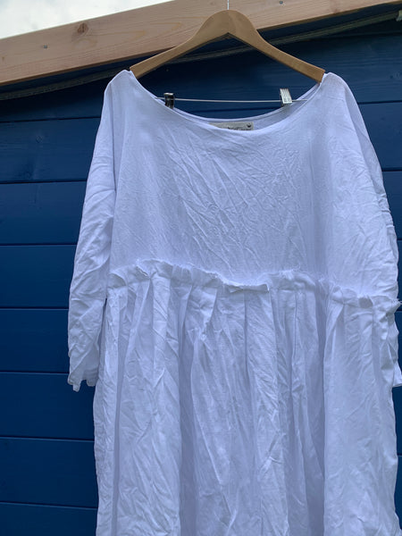 Ready to Ship May White Linen Dress One Size