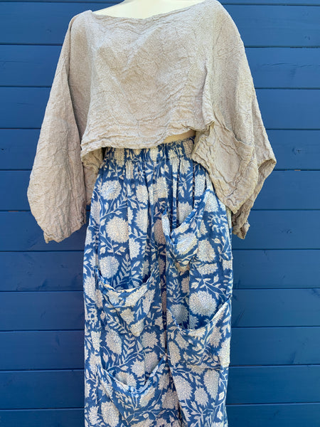 Ready to Ship Hand Block Printed Dahlia Pants One Size