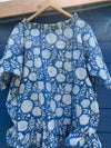 Ready to Ship Hand Block Printed Dahlia Cotton Top One Size