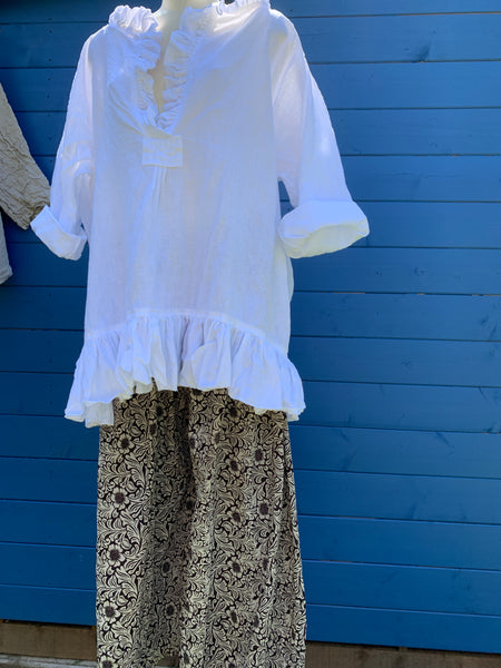 Ready to Ship Saffy White Linen Prairie Top One Size