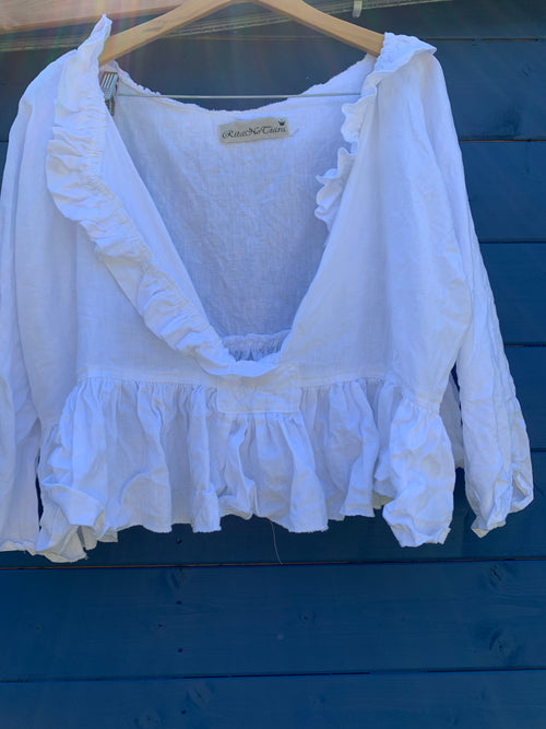 Ready to Ship Short Saffy Linen Top One Size