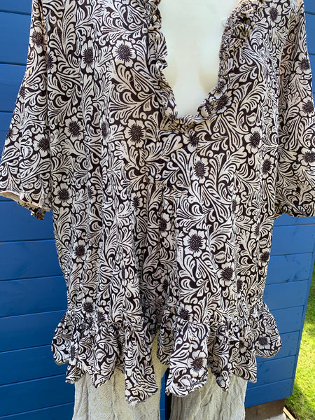 Ready to Ship Hand Block Printed Saffy Cotton Top One Size