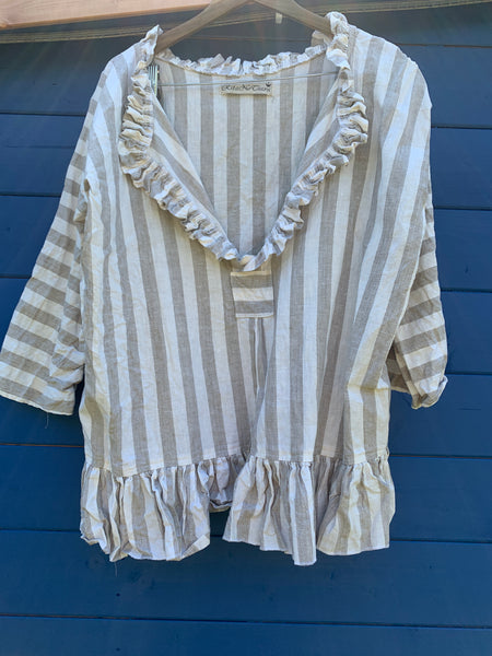 Saffy Brett Stripe Cotton Shirt