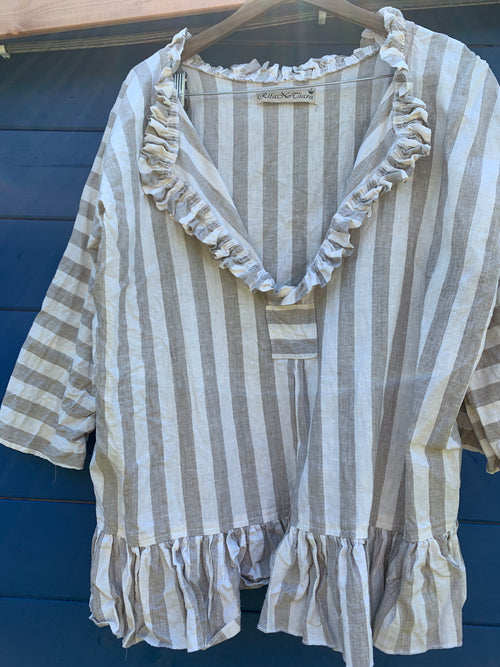 Saffy Wide Stripe Linen Top Ready to Ship