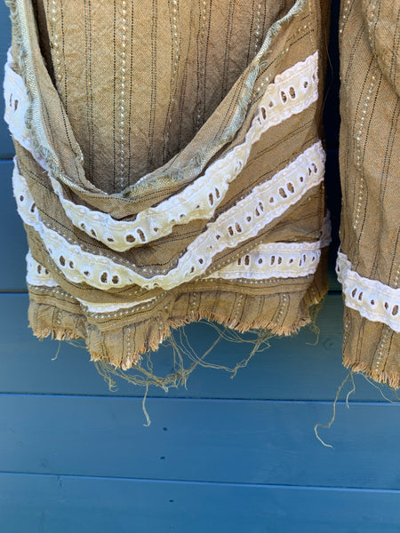 Ready to Ship Latte Stripe Linen Lace Bloomers ONE SIZE