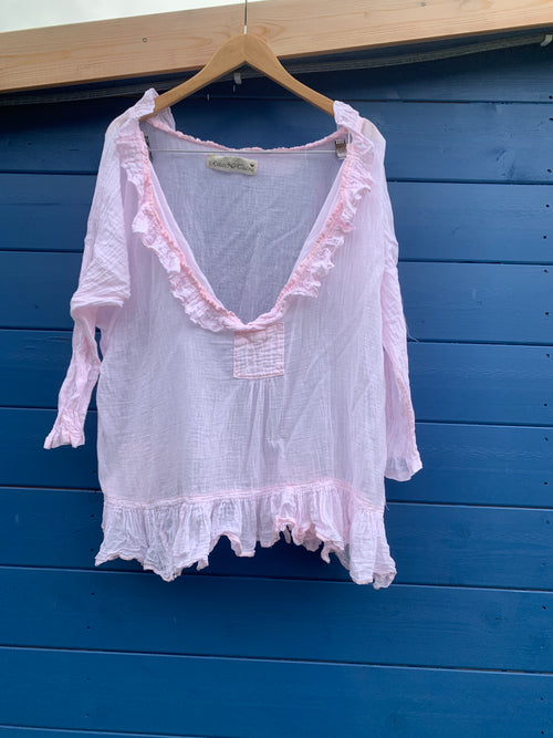 Ready to Ship Pink Saffy Gauze Cotton Prairie Top One Size