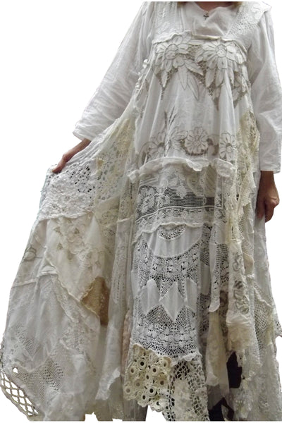 RitaNoTiara antique lace Southern Gothic Wedding Dress couture OOAK