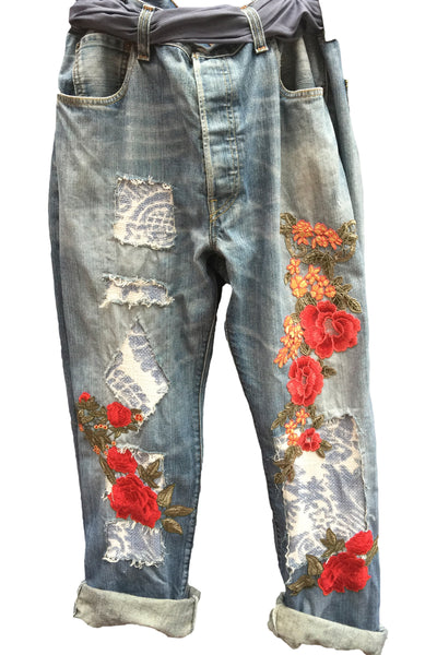 Midnight in the Garden Customised Jeans RitaNoTiara Southern Gothic