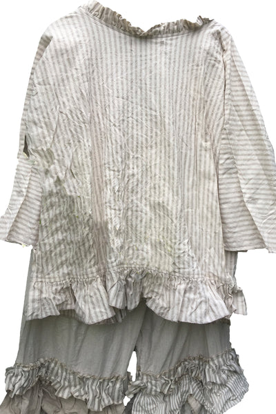 Saffy Stripe Linen Shirt Ready to Ship Free Size
