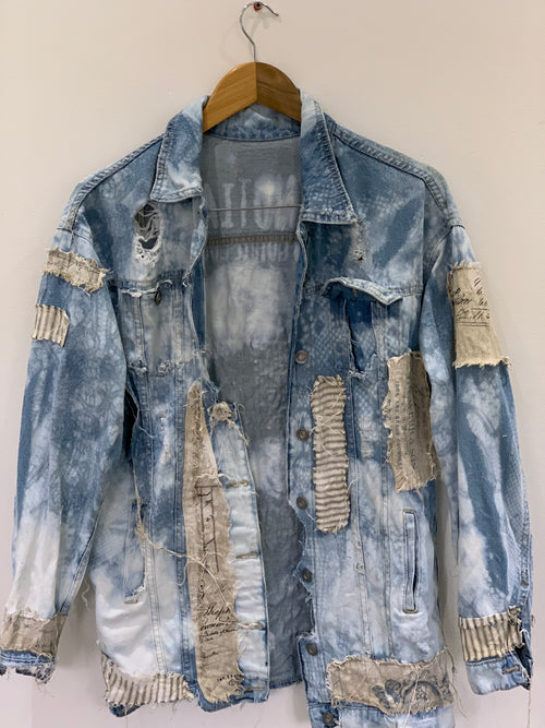 Ready to Ship Calligraphy Vintage Denim Jacket Free Size