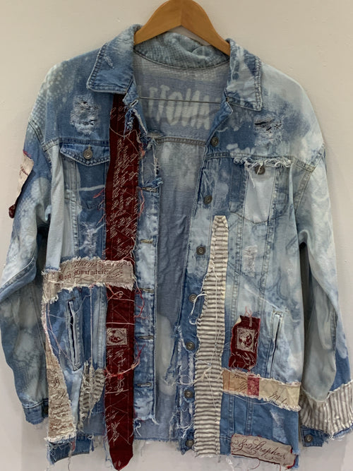 Ready to Ship Heart Vintage Denim Jacket Free Size