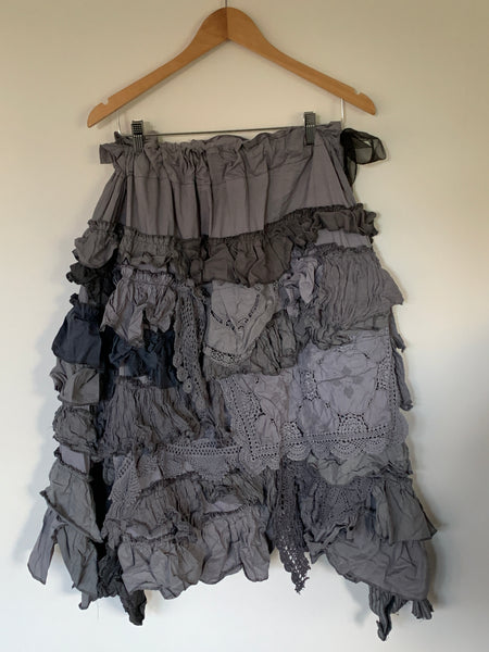 Grey Vintage Lace Knee Length Skirt