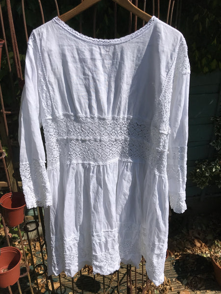 Baboushka Linen and Lace Dress boho chic RitaNoTiara Southern Gothic