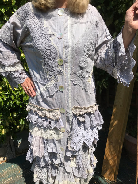 Ready to Ship Free Size Vintage Linen Lace Top