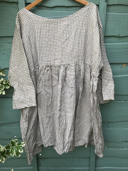 51375f42eb Georgia Prairie check Linen Top RitaNoTiara Prairie quirky Lagenlook