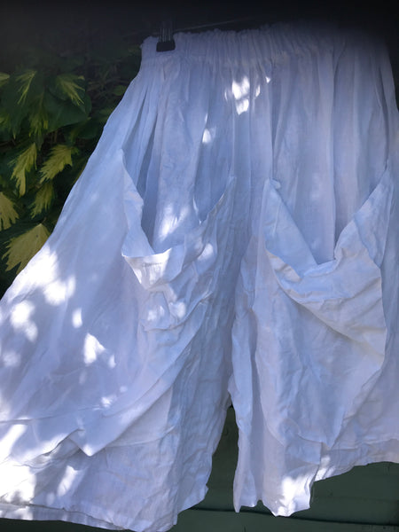 Ready to Ship White Linen Bermuda Pocket Shorts One Size