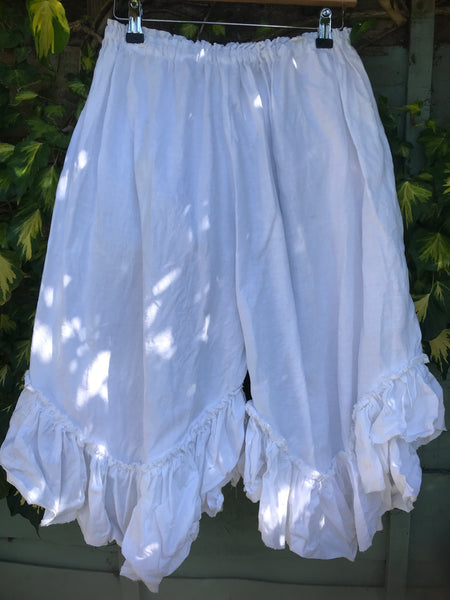 Ready to Ship White Linen Curve Hem Shorts One Size