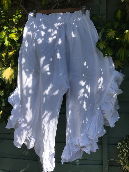 Ready to Ship White Linen Curve Hem Trousers One Size