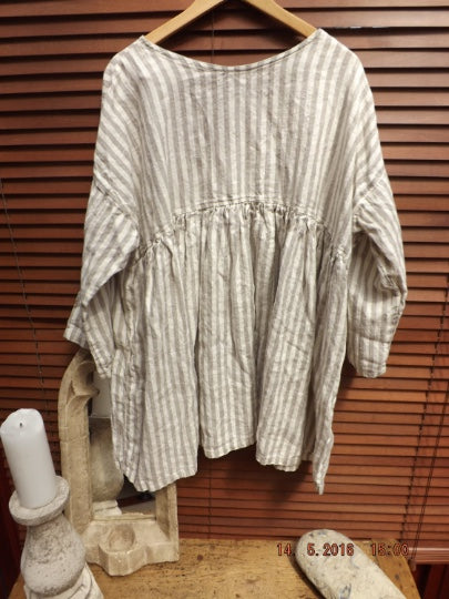 Latte Stripe Pocket Linen Top