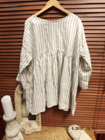 Natural Stripe Linen Top RitaNoTiara Southern Gothic Couture bohochic