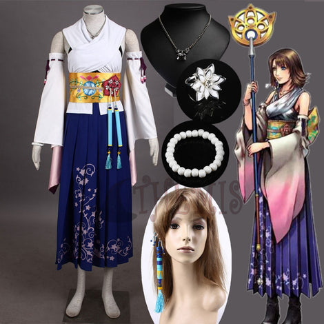 Final Fantasy X Yuna Summoner Cosplay Costume Outfit