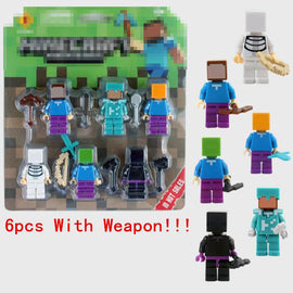 6pcs/set Minecraft Lego Toy Figures With Weapons