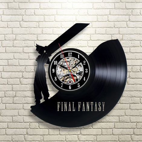 Final Fantasy VII Cloud Buster Sword Vintage Vinyl Wall Clock