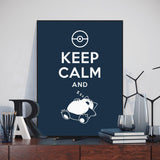 Modern Pop Art Pokemon Snorlax Keep Calm Quote Canvas Art Print Poster