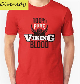 100% Pure Viking Blood Men's Short Sleeve Cotton T Shirt