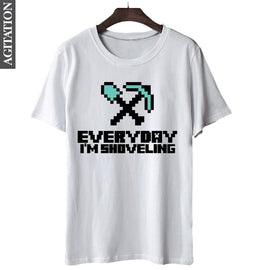 """Every Day I'm Shoveling"" Minecraft Themed Cotton T-Shirt"