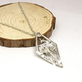 Skyrim Elder Scrolls Dragon Pendant with chain