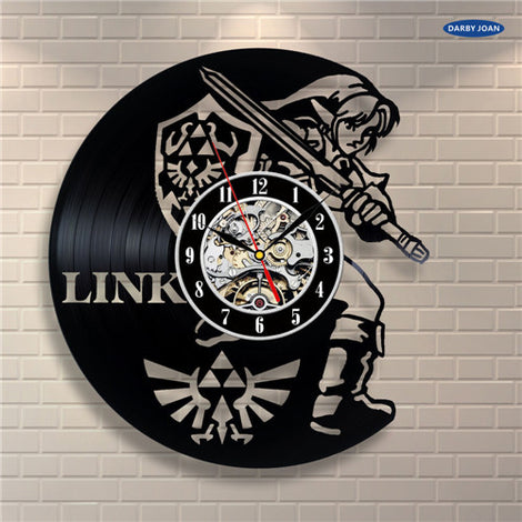 Legend of Zelda Handmade Link Art Vinyl Record Clock Wall Decor