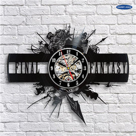 Final Fantasy VII Wall Clock Made Of Vinyl Record