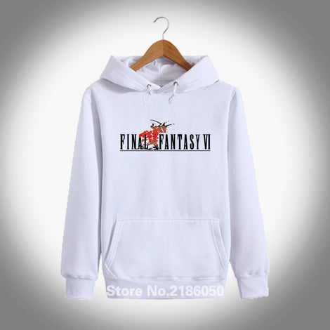 Game Final Fantasy VI FF6 White 100% Cotton Cotton Pullover Hoodie Jacket