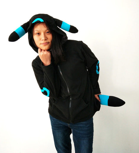Dark Pokemon Umbreon Themed Hoodies Sweatshirts With Ears And Tail