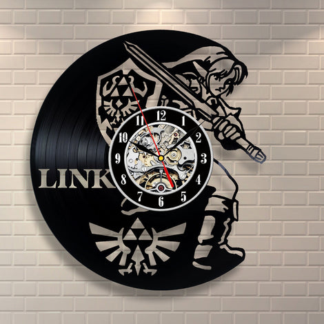 Legend of Zelda Link with Shield Vinyl Record Wall Clock Art