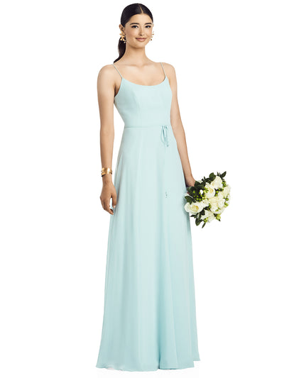 2020 Spaghetti Strap Chiffon Gown with Jeweled Skinny Sash - Chicago Bridal Store Company