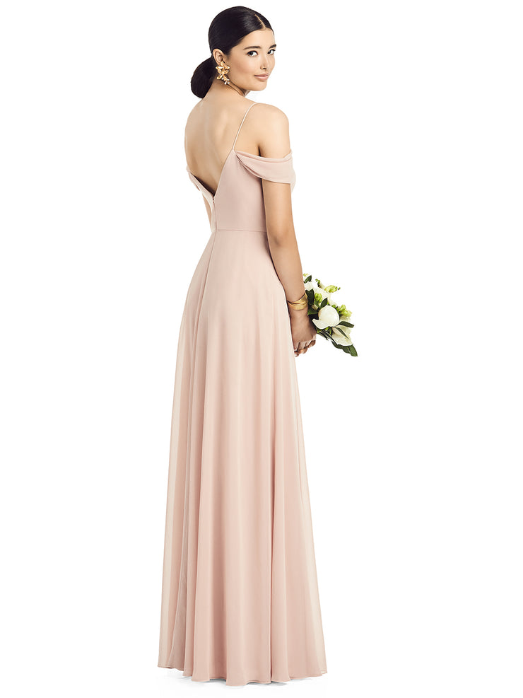 2020 Cold Shoulder V-Back Chiffon Gown - Chicago Bridal Store Company