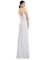 2020 V-neck Draped Blouson Back Chiffon Gown - Chicago Bridal Store Company
